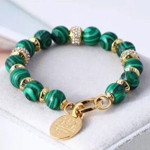 Henri Bendel Gold & Green Malachite Logo Bracelet